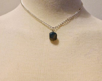 One of a kind stone pendant on silvertone chain