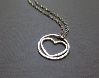 Heart and Circle Pendant, Circle of Love, Hammered Heart Charm, Argentium, Sterling Silver, Circle, Mama Metal, Baby Friendly, Gift for Mom