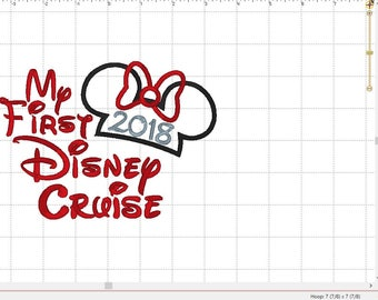 "Minnie and Minnie Mouse Disney World ""2018 My First Disney Cruise"" Embroidery Applique Design Pattern- INSTANT DOWNLOAD 4x4 5x7 & 6x10 Sizes"