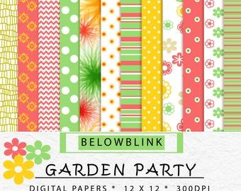 Garden Party Digital Paper Pack, Scrapbook Papers, Background Papers, 12 jpg files 12 x 12 - Instant Download - DP188