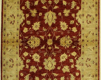 Ushak Style Floral Handmade Red Rug 4x6