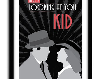 """Casablanca, Classic Movie Poster, romantic print, """"here's looking at you kid"""", Casablanca Poster, A3 Poster"""