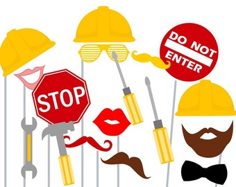 Print Yourself Construction Photo Booth Party Props