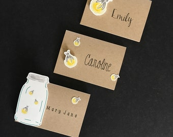 Mason Jar Firefly Place Cards;Kraft Paper Die Cut  3D Place Cards; hand drawn; set of 6; rustic wedding, rustic baby shower,