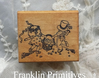 Mary Engelbreit Vintage Rubber Stamp Friends Heart Basket Wood Block Mounted 1980s ALL NIGHT MEDIA Stamping Scrapbooks Journals Crafting