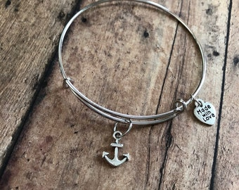 Anchor charm bracelet, refuse to sink anchor bracelet, nautical jewlery,nautical bracelet, ocean lover, gift for her, birthday gift for her,