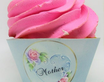 Mother, Happy Mother's Day, Cupcake Wrappers and Toppers, Happy Mother's Day, Mother, Mom,  Lace 0631