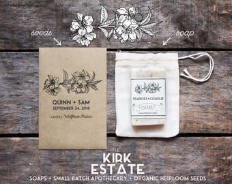 100 Seed Packet Favors, wedding shower + party favors, organic + heirloom seeds, custom favors, eco friendly, from our farm