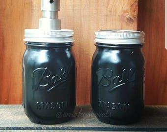 Black Ball Pint Size Mason Jar Soap Dispenser /Pump and Toothbrush Holder Set