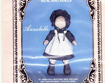 Uncut Project Pattern ANNABELLE AMISH DOLL - Real Rag Dolls - Soft Jointed Body - Face included
