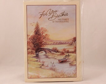 NEW! Vintage Religious Lawson Falle Limited Greeting Card. One Card and Envelope. Brother Thanksgiving