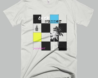 new wave t-shirt - S M LG XL - surfer t-shirt - 80's style tee - checkerboard t-shirt mens womens