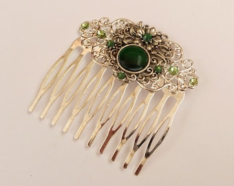 Hair comb in green silver with cat eye pearl antique hair jewelry gift woman