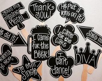 10 Customized Chalkboard Photo booth Props WITH Phrases already Painted Glued to 8 Inch Curvy Sticks with Personality