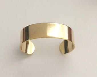 "Gold Cuff, 3/4"" wide, Wide Cuff, Bracelet, Bangle"