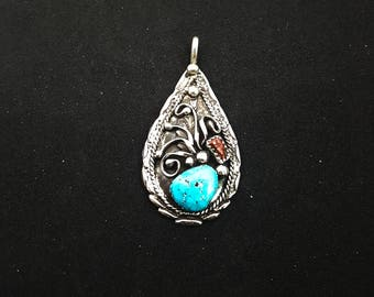 Sleeping Beauty Turquoise and Red Coral Pendant