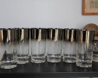 6 Vintage Set of OMBRE Mercury Fade Glasses,Mercury Fade Highball Tumbler Glasses, Mid Century Modern Barware,Silver Mercury glasses