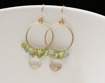 Golden Rutilated Quartz Peridot and Blue Topaz Earrings, 14k Gold Filled, Hammered Hoops, Gemstone Cluster - Leora