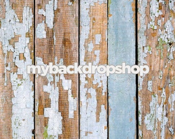 2ft x 2ft Light Blue Peeled Paint Wood Wall Backdrop or Floordrop - Studio Product Photography Prop - Item 314
