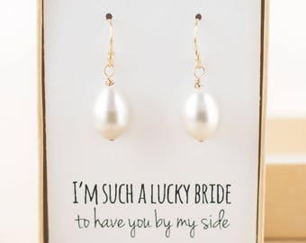 Bridesmaid Gift - Pearl Drop Earrings Gold - Pearl Earings Wedding - Bridesmaid Jewelry - Freshwater Pearl Drop Earrings