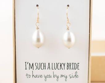 Bridesmaid Gift - Pearl Drop Earrings Gold - Pearl Earings Wedding - Bridesmaid Jewelry - Freshwater Pearl Drop Earrings