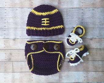 Baby Lsu Football Hat and diaper cover with cleats , crochet baby football hat , diaper cover,cleats, newborn,baby,infant  MADE TO ORDER
