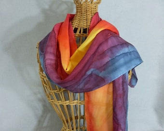 "Silk Scarf ""Orange and Red Sunset"", Hand Painted Silk Scarf"