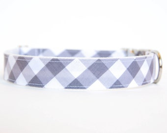 Gingham Dog Collar in Grey