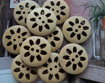 12Pcs  25mm Unfinished Natural  flower shape Wood button 2 holes No varnish  for your handmade ( W162)