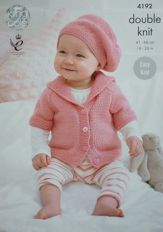 Baby Knitting Pattern K4192 Babys Easy Knit Short Or Long Sleeve