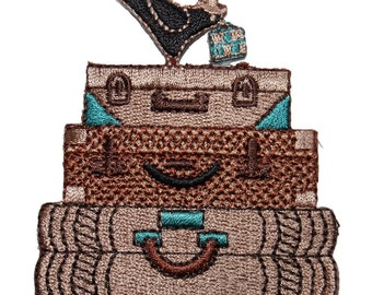 ID 8358 Stack of Suit Cases Patch Luggage Fashion Embroidered Iron On Applique