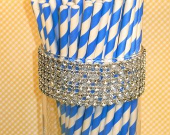 Sailor Blue Striped Paper Straws - DIY Flag Toppers