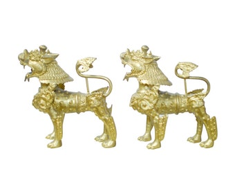 Solid Brass Foo Dogs with Gilt Finish