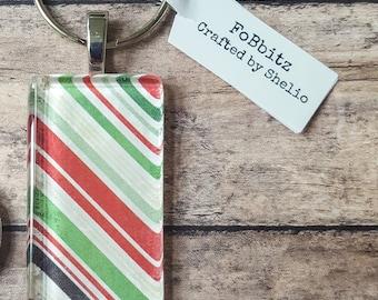 Handmade Christmas Stripes Keychain | Glass Tile | Domino | Christmas | Whimsical | Cute | Stocking Stuffer