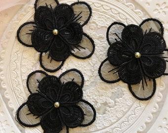 20pcs black flower mesh embroidered lace appliques patches D21W300P0422R free ship