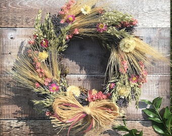 Dried Flower Wreath - Dried Pink Blue Cream Flowers in Rustic Floral Wreath - Perfect Summer Wreath