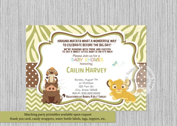 Simba baby shower invitations simba lion king baby shower like this item filmwisefo Gallery
