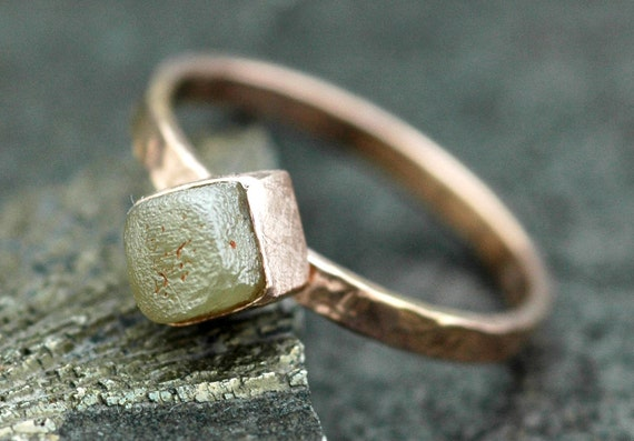 Raw Diamond in Rose Gold Ring