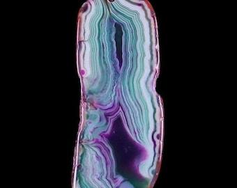 Purple White Green Banded Agate Slice Pendant - 79x31x5mm - Energy Enhances Mental Function, Promotes Self-Acceptance, Remove Negativity