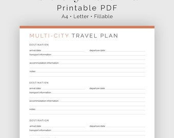 Multi-city Travel Plan - Fillable - Travel Planner, Vacation Planner - Printable Organizational PDF - 3 colours - Instant Download