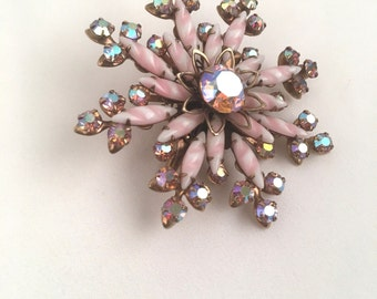 Striped Pale Pink and Aurora Borealis Rhinestone Starburst Brooch Iridescent Snowflake Flower Gold Pin 50s 60s Costume Jewelry