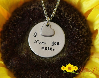 I Love You More Jewelry - Anniversary Necklace - Aluminum Love Necklace - For Wife, Girlfriend, or Daughter - Love You More Necklace