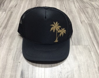 Palm Trees Glitter Trucker Hat Beach River Hawaii Tropical Vacation Vacay Mode Women's Palm Springs