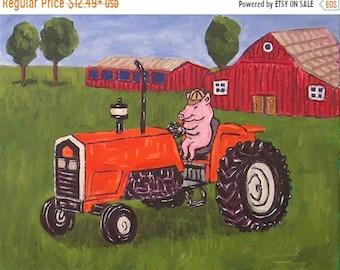 25% off pig tractor farm print art