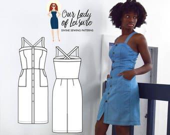 The Daiquiri Dress PDF Pattern - Women's Denim Dress Sewing Pattern
