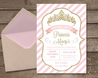 Princess Birthday Invitation, First Birthday Invitation, Princess Invitation, Pink and Gold Birthday, Princess Birthday, Princess Party