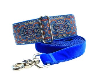 Martingale Collar and Matching Leash, Blue Martingale Collar, Jacquard Martingale Collar, Large Dog Collar, Greyhound Collar