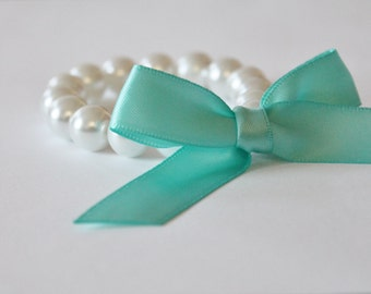 White Pearl and Robins Egg Blue Ribbon Bracelet