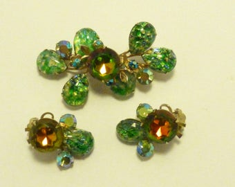 Brooch and earring set foiled art glass Swarovski watermellon rhinestone AA498