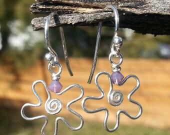 Hand Twisted Flower Earrings